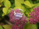 Glass and mini faux pearl silver plated ring