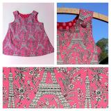 A-line pinafore dress in Pink Eiffel Tower fabric Age 1
